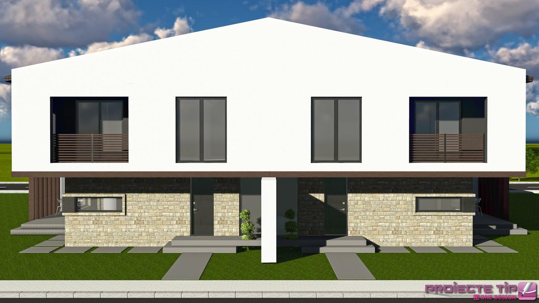 Proiect casa duplex 144 mp bianca for Bo architecture 4 1
