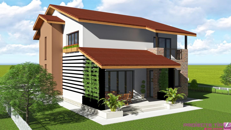 Proiect casa parter si etaj 250 mp gabriela for Case parter
